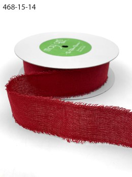 Red Frayed Edge Linen Cotton Ribbon