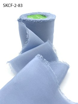 Dusty Blue Frayed Edge Silk Chiffon Ribbon