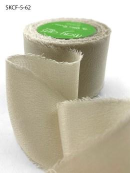 Nude Taupe Frayed Edge Silk Chiffon Ribbon