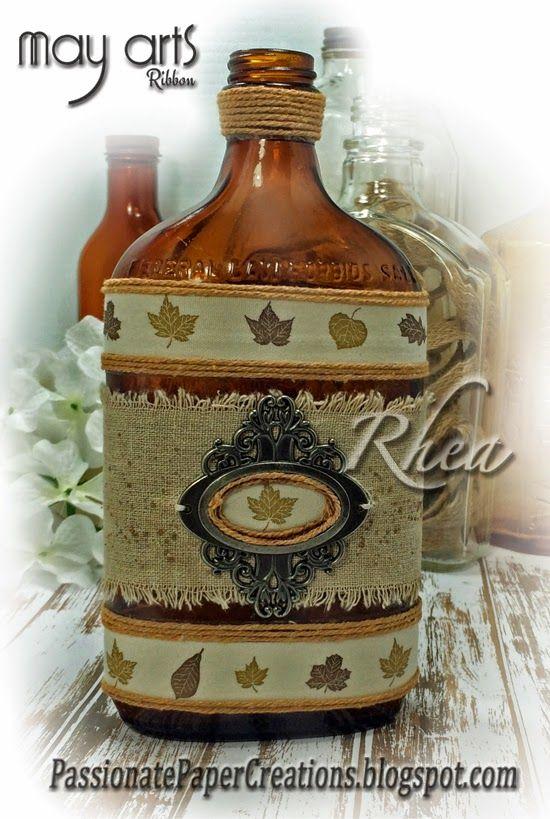 Thanksgiving Mixed Media Bottle
