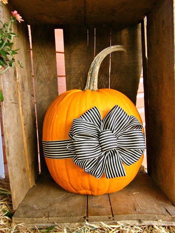 Thanksgiving Ribbon Pumpkin Decor