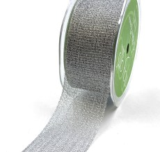 "1.5"" Silver Metallic Knit Net Crochet RIbbon"