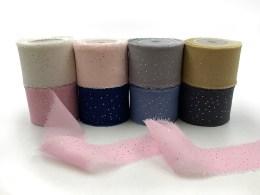 "1.25"" Mini Metallic Polka Dot Silk Georgette Ribbons Wedding and Invitation Silk Ribbons"