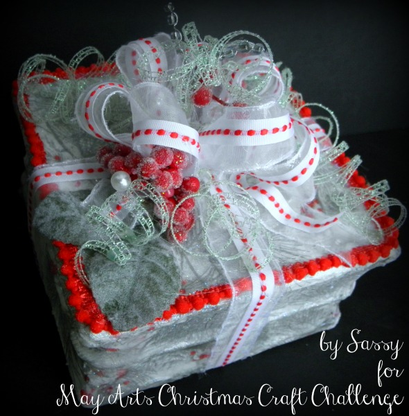 Light Up Gift Wrapped Altered Glass Block