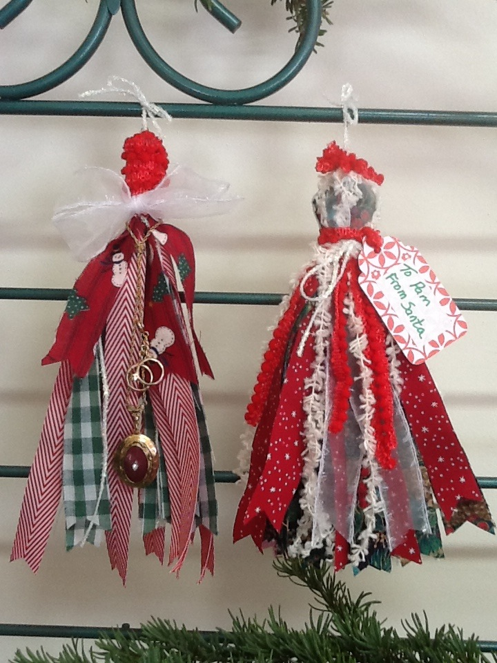 Fabric and Ribbon Christmas Tassels