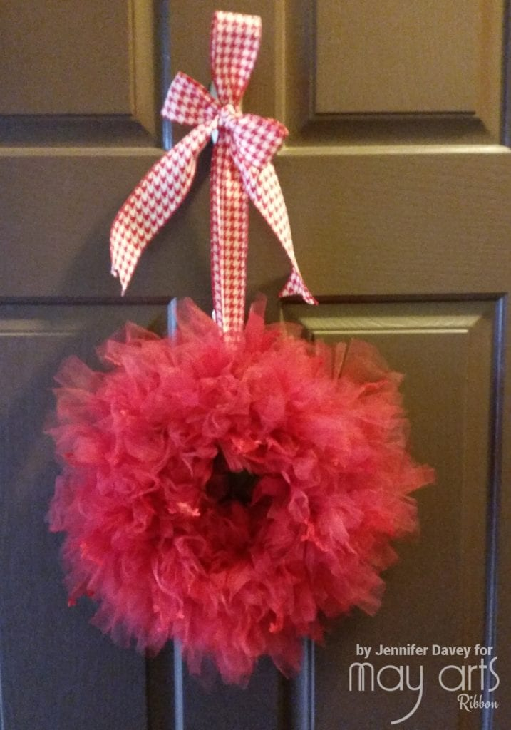 Tulle Fluff Wreath with Heart Sprinkles
