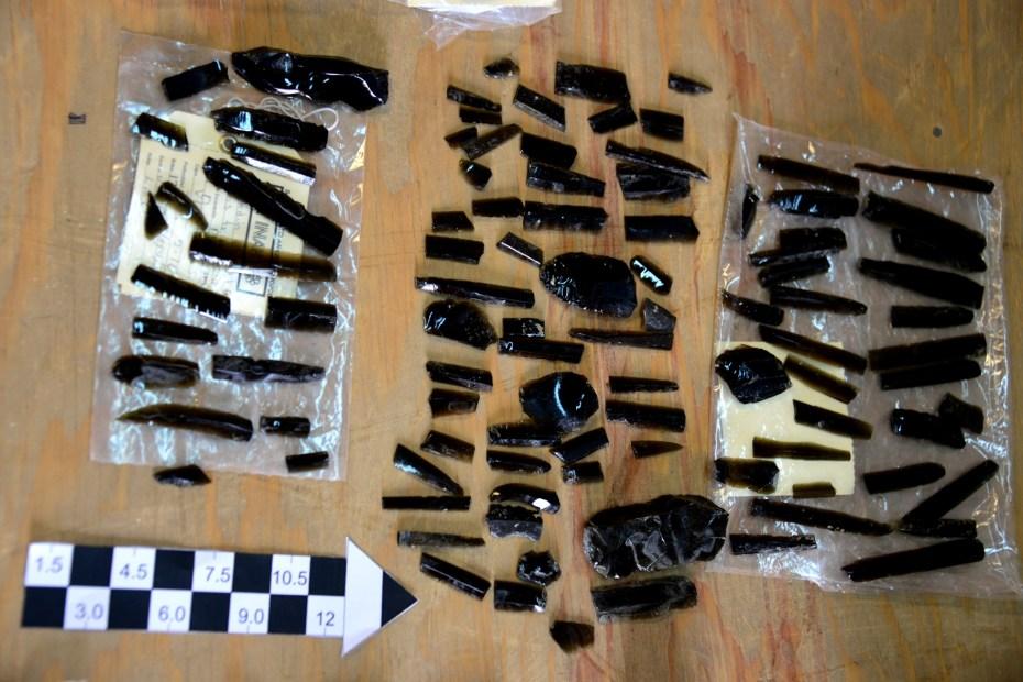 Obsidiana Lítica tallada, encontrada en Churubusco.