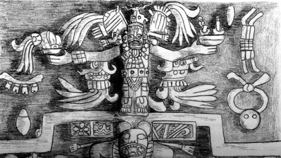 Casa de los Falos en la zona maya de Chichen Itzá, Yucatán.