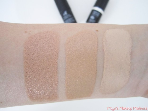 Battle of the Brands: Foundation Sticks Swatches (LtR: e.l.f. - Natural, MUFE - 118=Y325, MUFE - 117=Y225)
