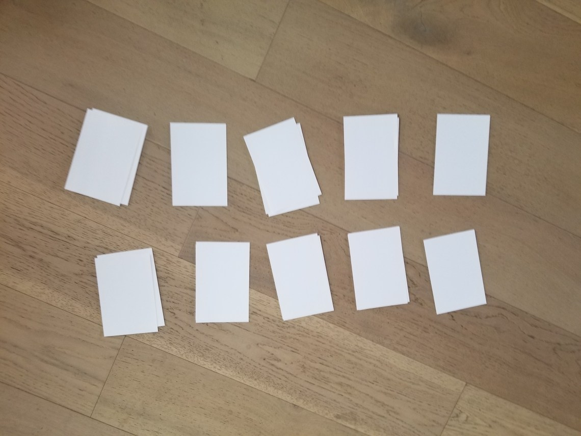 blank index cards for Rhyming Go Fish