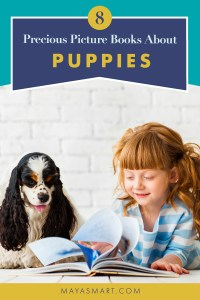 Little girl reading with dog
