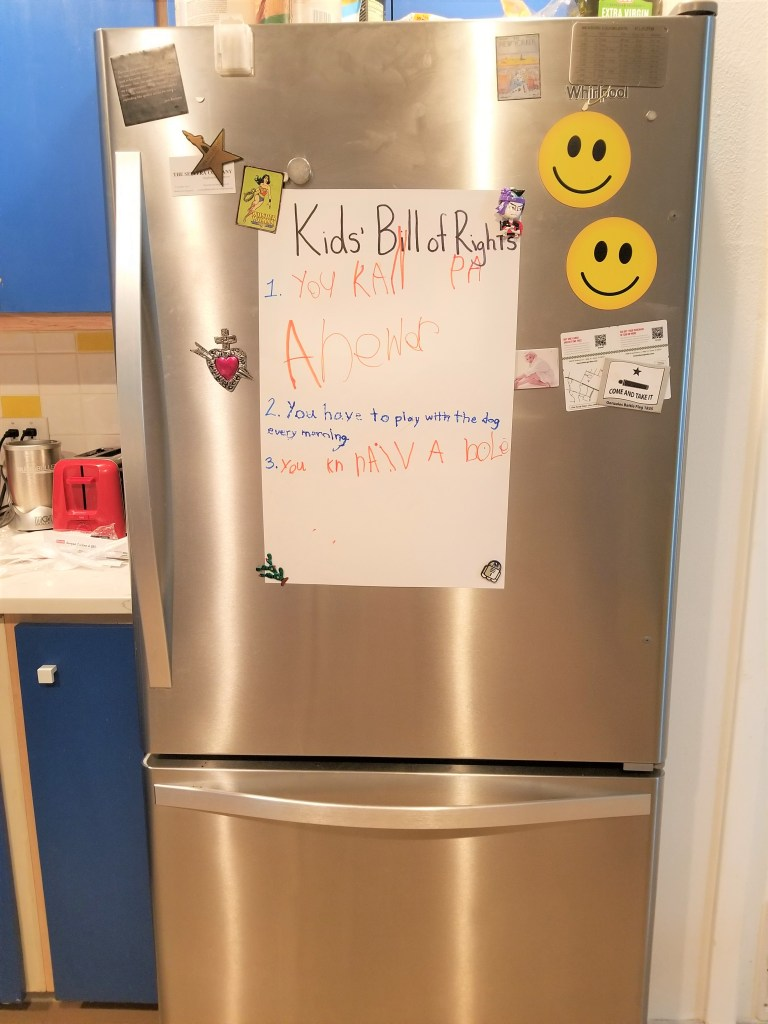 Fridge with Bill of Rights activity taped to it