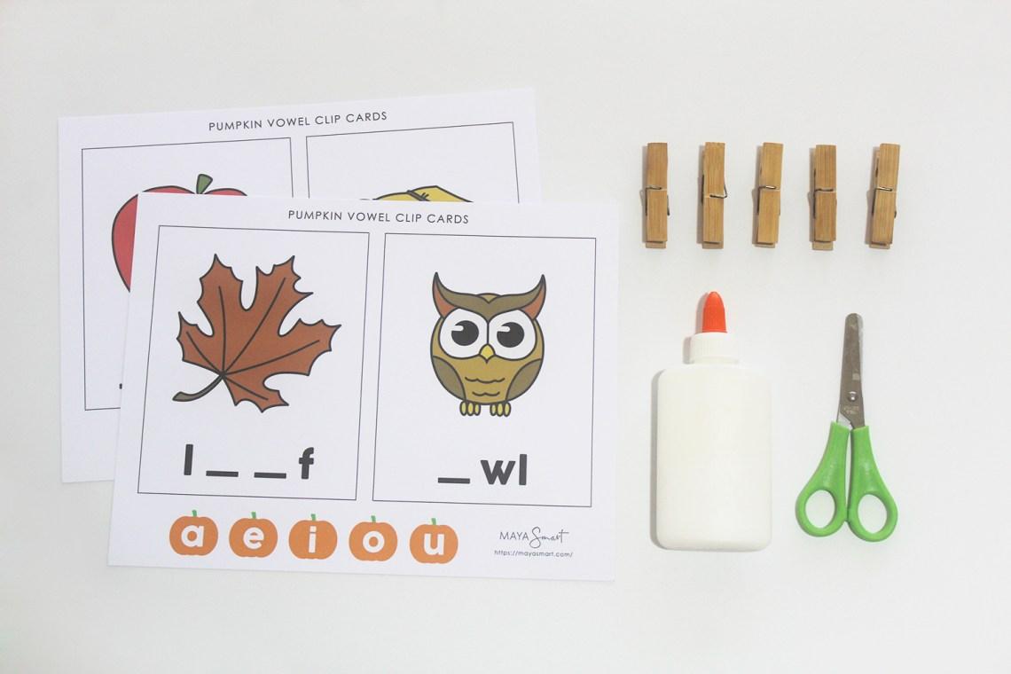 Glue, scissors, clips, free fall printable