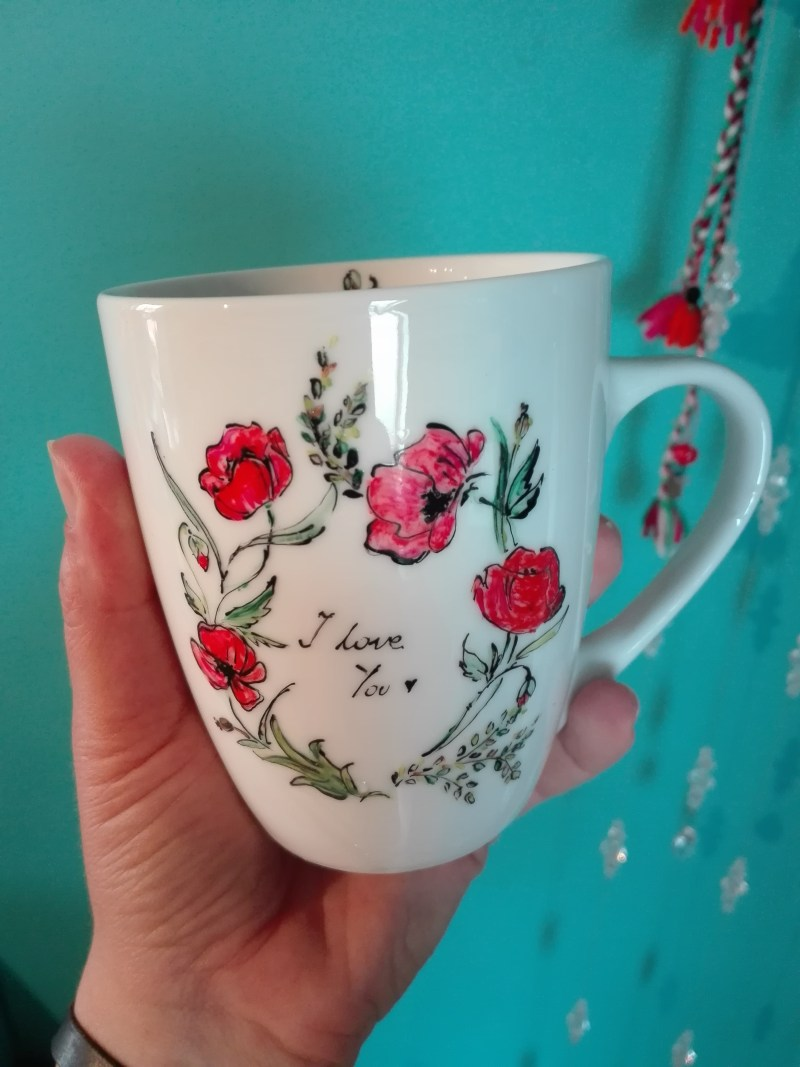 painting mug popies
