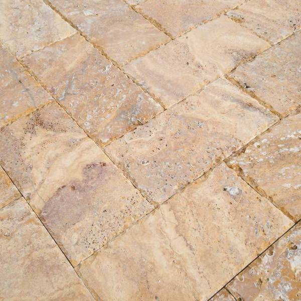 20020072-Meandros Gold Yellow Travertine Pavers - Honed and Chiseled Close view - www.mayausatile.com