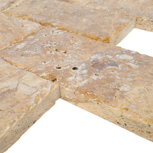 20020072-Meandros Gold Yellow Travertine Pavers - Honed and Chiseled profile view - www.mayausatile.com