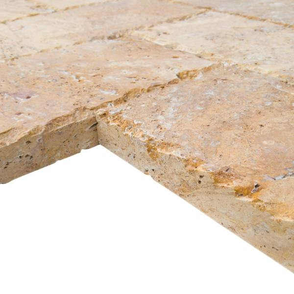 20020072-Meandros Gold Yellow Travertine Pavers - Honed and Chiseled profile view2 - www.mayausatile.com