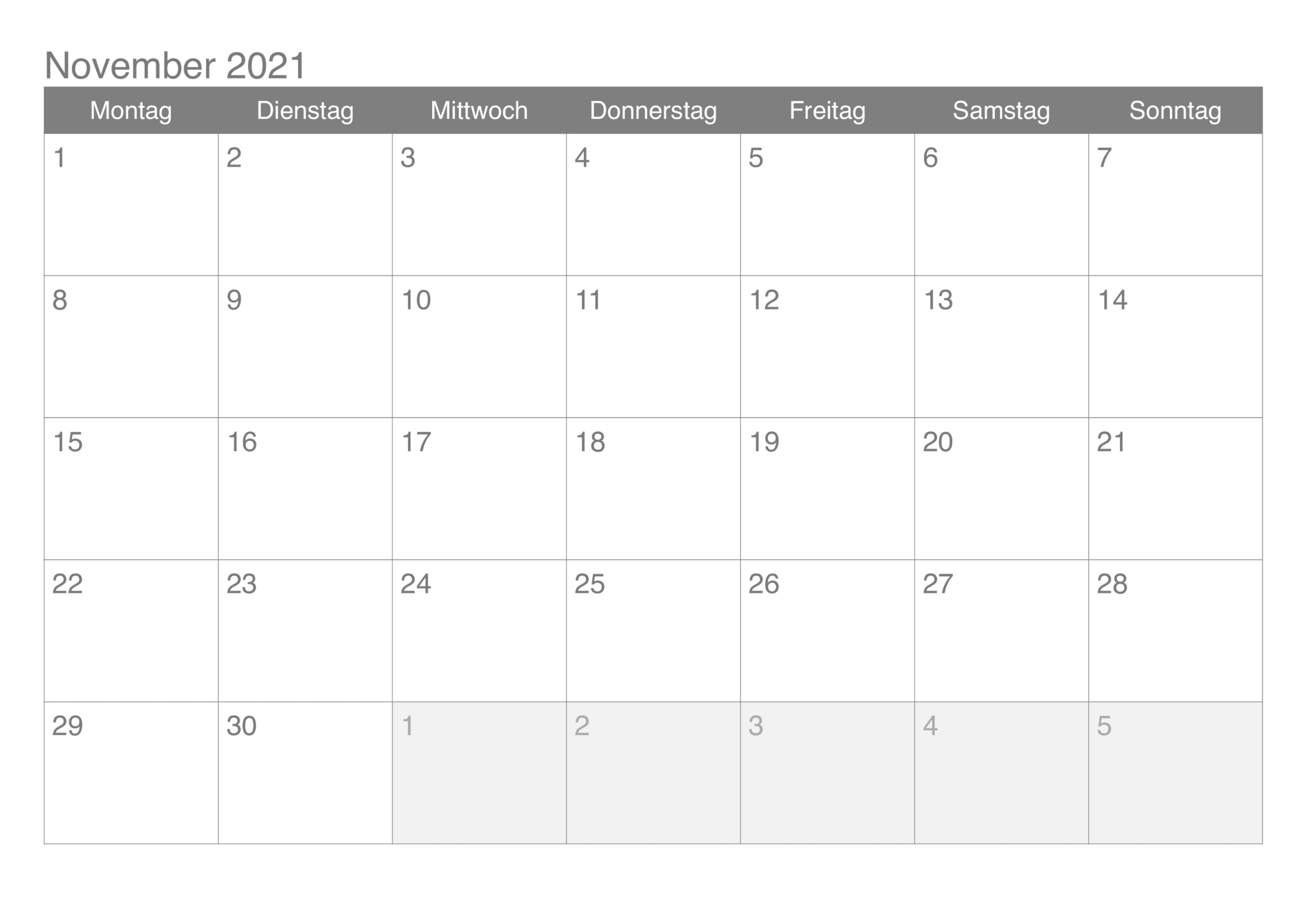 Kalender November 2021 Druckbare Vorlage PDF, Word, Excel