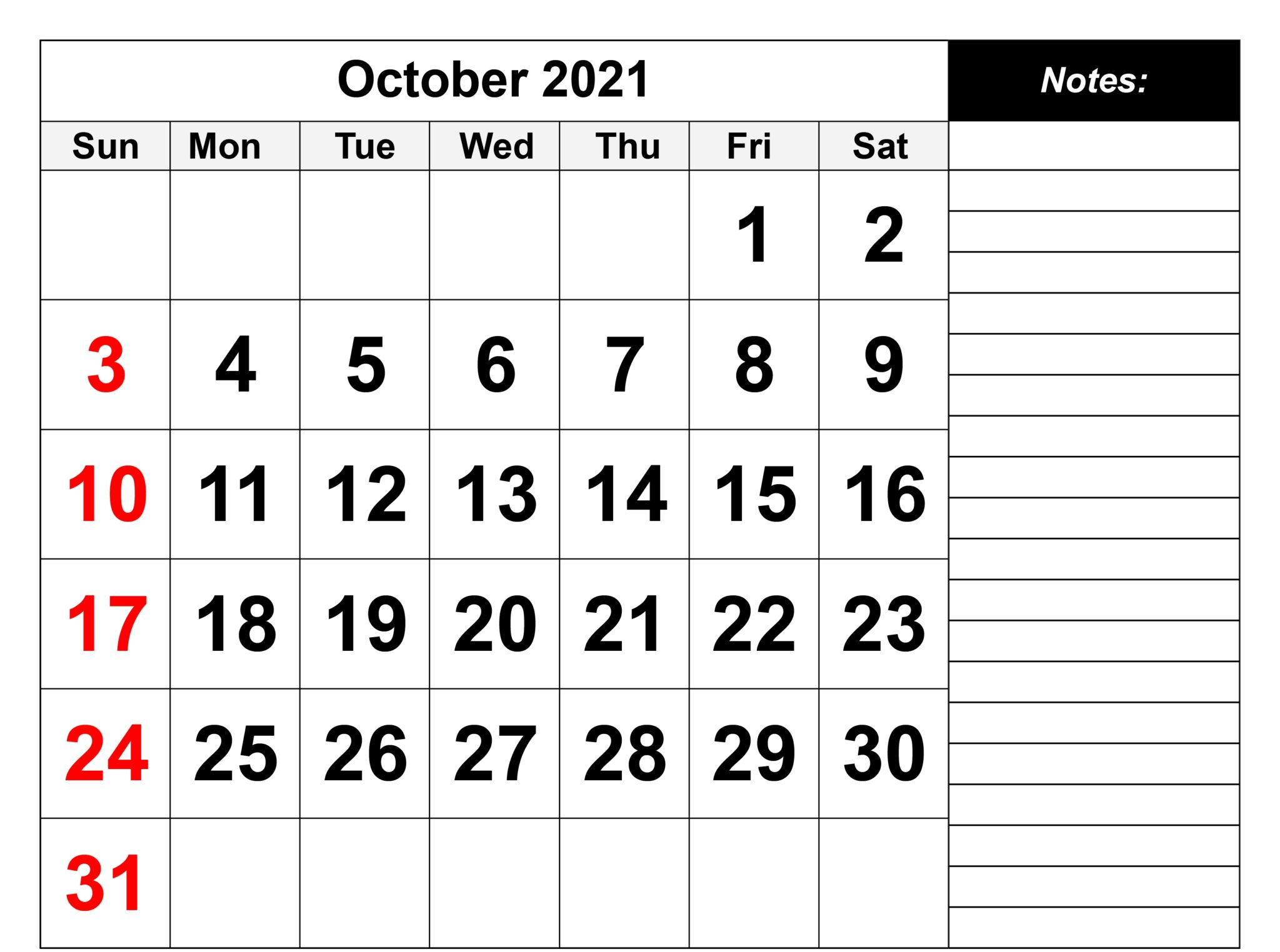Printable October 2021 Calendar Template With Holidays