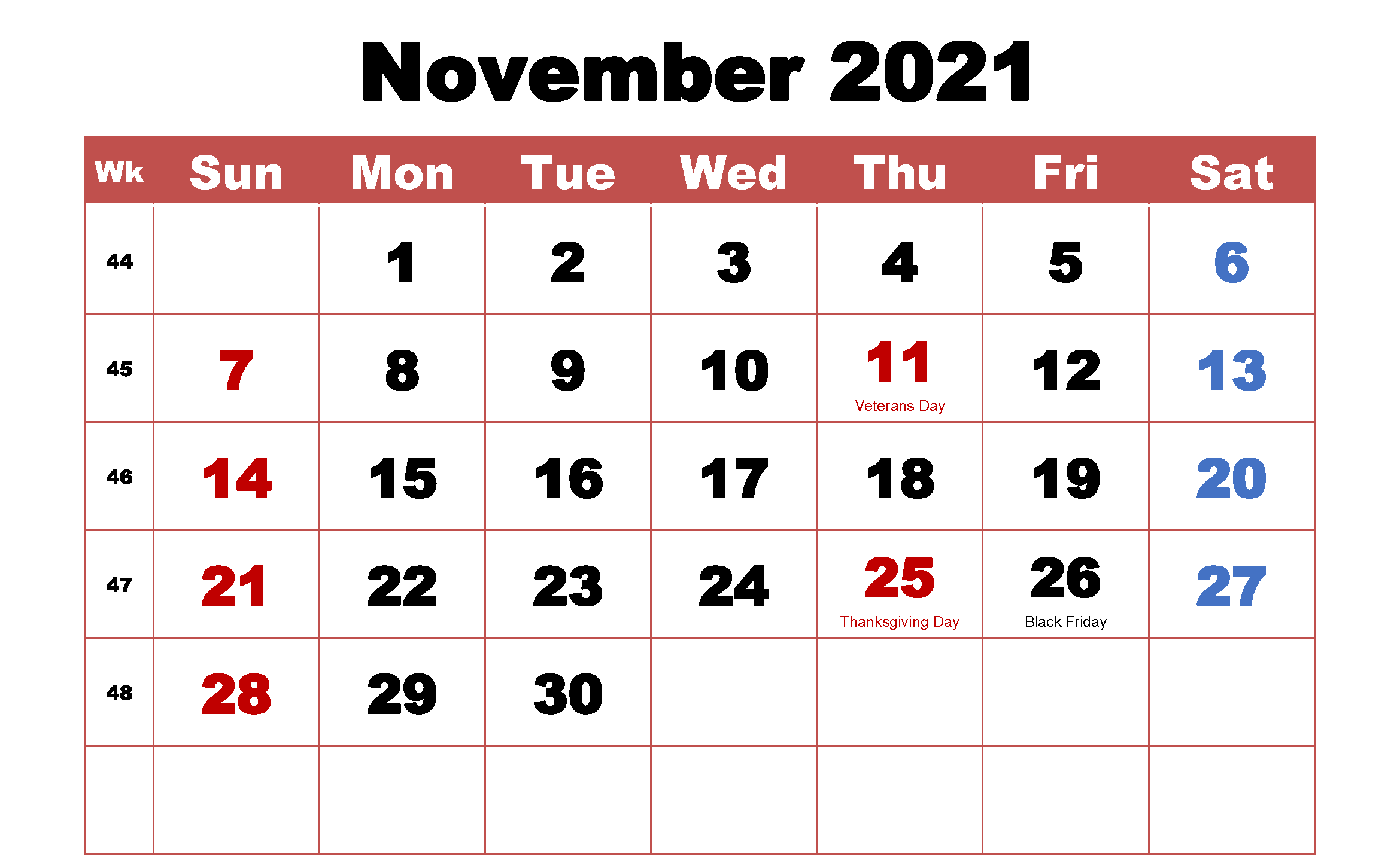 Free November 2021 Calendar Printable Templates Download