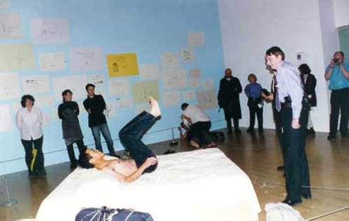 TWO ARTISTS JUMP ON TRACEY EMIN'S BED NO. 2 - Tate Gallery, London (1999