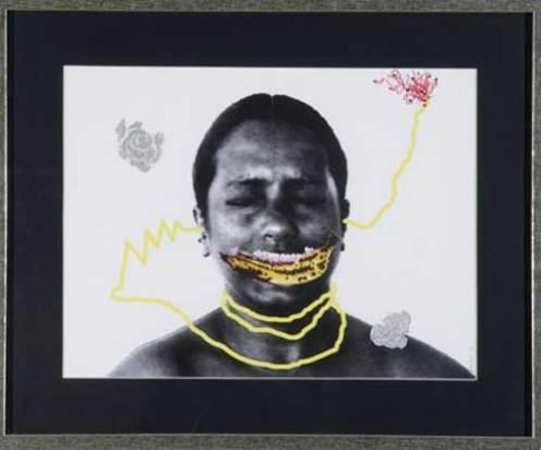 MANANA (WHEN MITHU DROPS THE BANANA) (2007) mixed media on photograph; framed