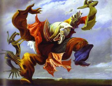 """Max Ernst, """"L'Ange du Foyer ou le Triomphe du Surréalisme"""" (1937), oil on canvas, 45 x 57 1/2 inches"""