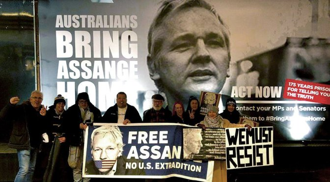 Out for a night to campaign for Julian Assange