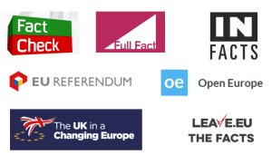 Image showing logos of organisations offering facts or fact checking on UK EU referendum. All logos are trademarks of their respective organisations