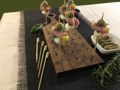 Reversible Appetizer Board With Bamboo Picks