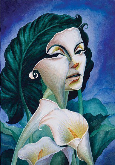 Painting of a Woman Made Out of Lilies