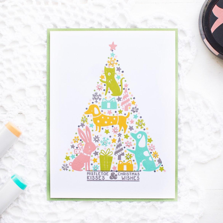 Pinkfresh Studio Custom Christmas Tree Card W Non Holiday Colors