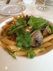 Penne with shrimp & clams in black bean sauce