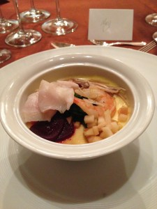 8 treasure chawanmushi with picked acadian red snapper with apple and charred garlic chives