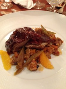 roasted peking duck with pork rib, 5 spice broken rice and satsuma