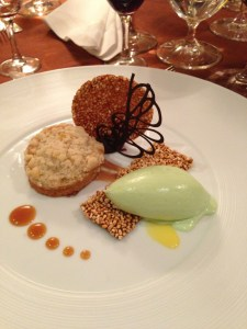 deconstructed sticky cake with five kernel streusel with pandan ice cream