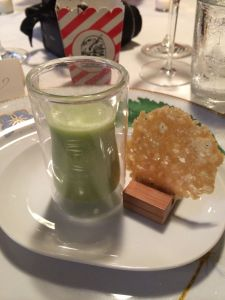 English mint pea soup with Parmesan tulle