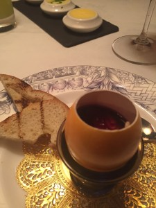 foie gras mousse in an egg