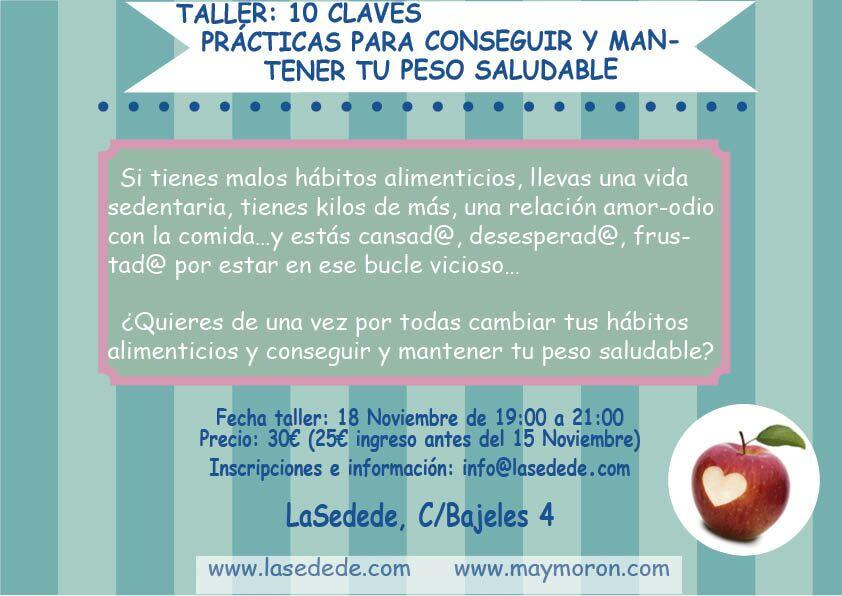 """Taller Sevilla """"10 claves prácticas para conseguir y mantener tu peso saludable"""""""
