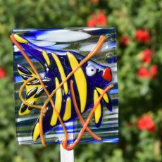 Fused glass blue angel fish garden art