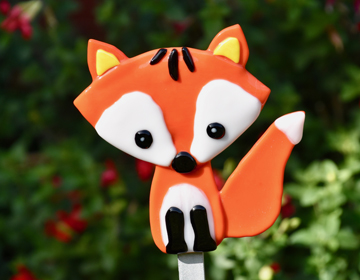 Fused glass red fox garden art