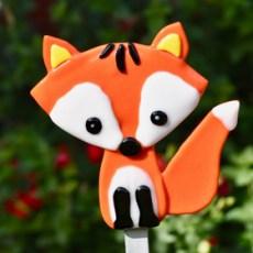 Fused glass red fox garden art