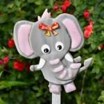 Fused glass grey elephant garden art