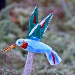 Fused Glass Hummingbird Garden Art