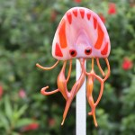 Fused glass red jellyfish garden art