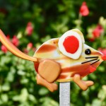 Fused glass red mouse garden art