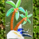 Fused glass palm trees on beach garden stake art