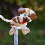 Fused glass brown dog garden stake art