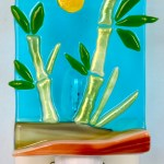 Fused Glass Green Bamboo and Sun Nightlight