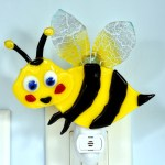 Fused glass hovering yellow bee nightlight
